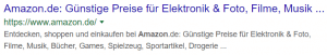 Suchergebnis bei Google für das Suchwort Amazon