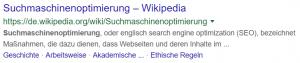 Suchergebnis bei Google für das Suchwort Suchmaschinenoptimierung