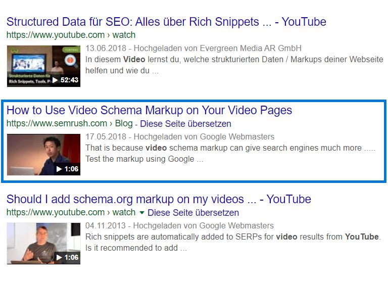 Strukturierte Daten Video VideoObject